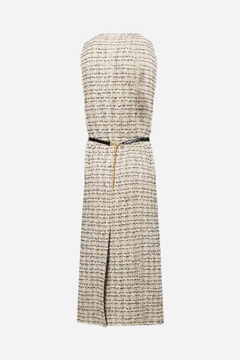 VICTORIA BECKHAM: belt-detailed tweed sleeveless dress Color Green_2
