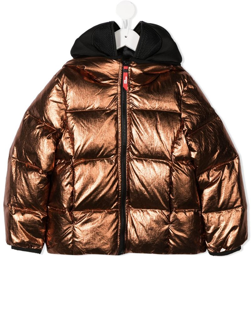 AI RIDERS ON THE STORM KIDS: PVC lenses-detailed nylon down jacket Color Gold_1