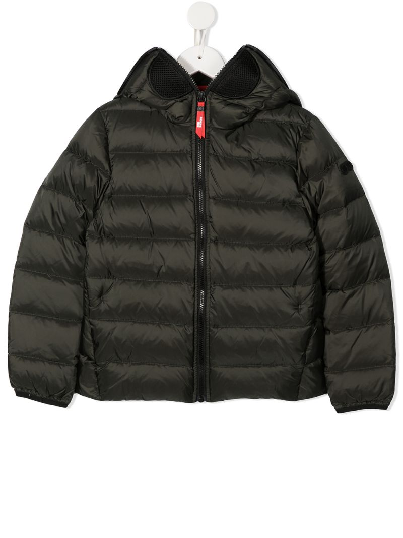 AI RIDERS ON THE STORM KIDS: PVC lenses-detailed nylon down jacket Color Green_1