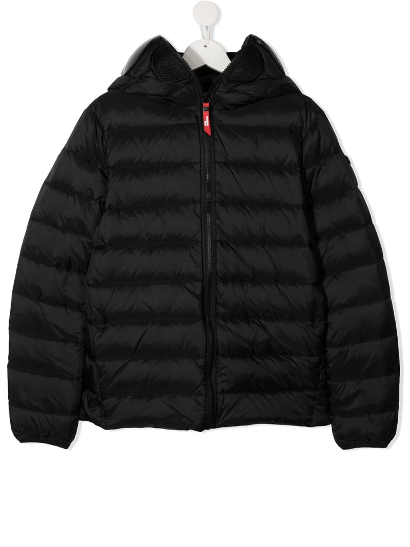 AI RIDERS ON THE STORM KIDS: PVC lenses-detailed nylon down jacket Color Black_1