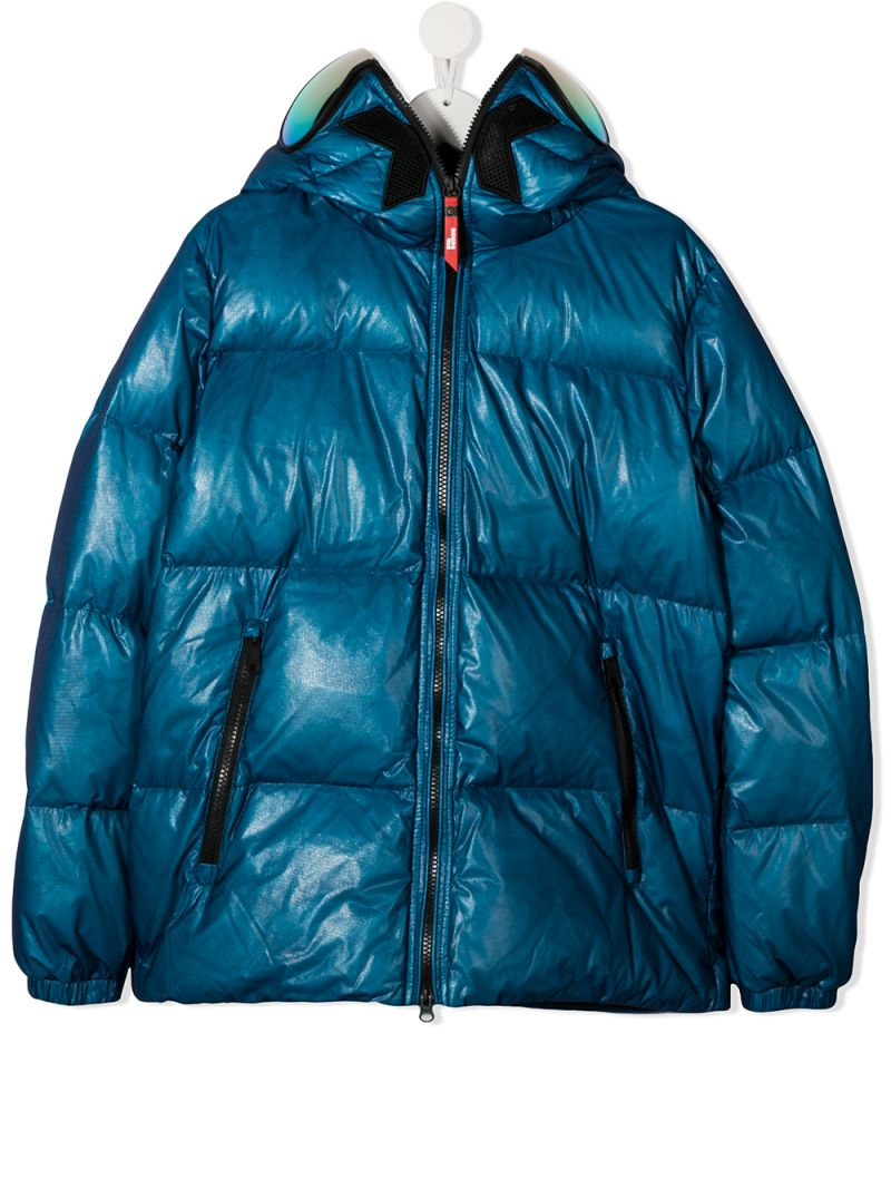 AI RIDERS ON THE STORM KIDS: Cool Day Cool Play print nylon down jacket_1