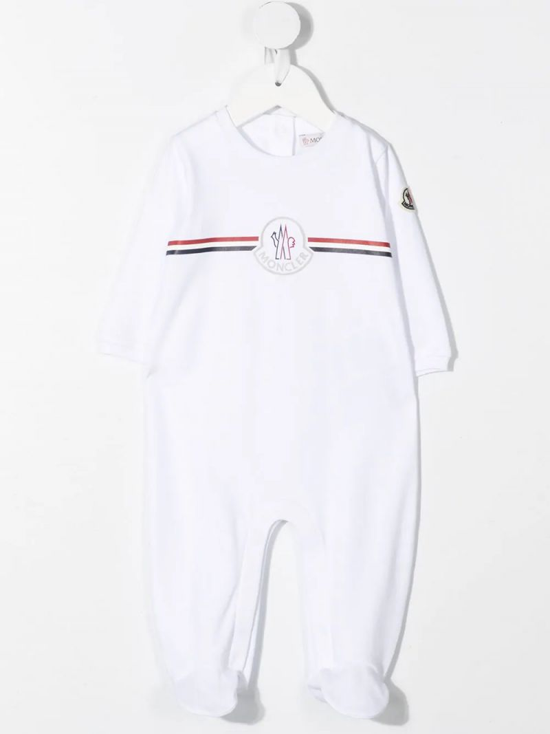 MONCLER KIDS: logo print cotton babygrow and beanie Color White_2