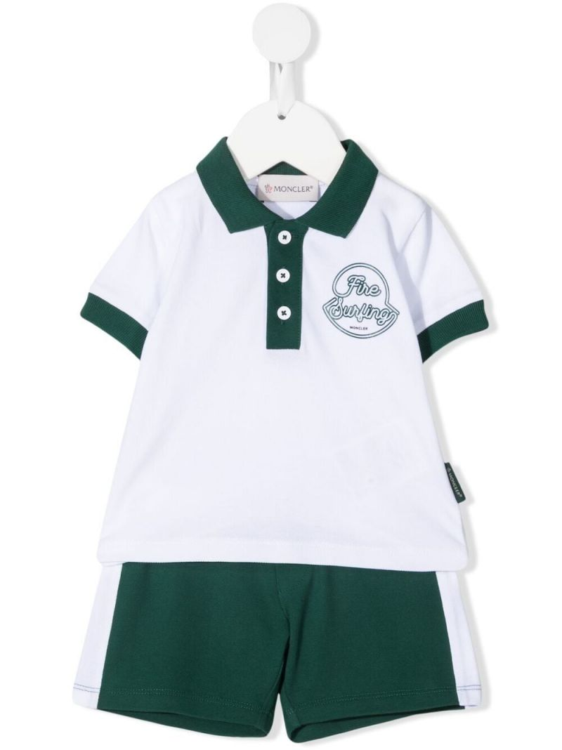 MONCLER KIDS: Fire Surfing print piquet polo shirt and shorts set Color White_1