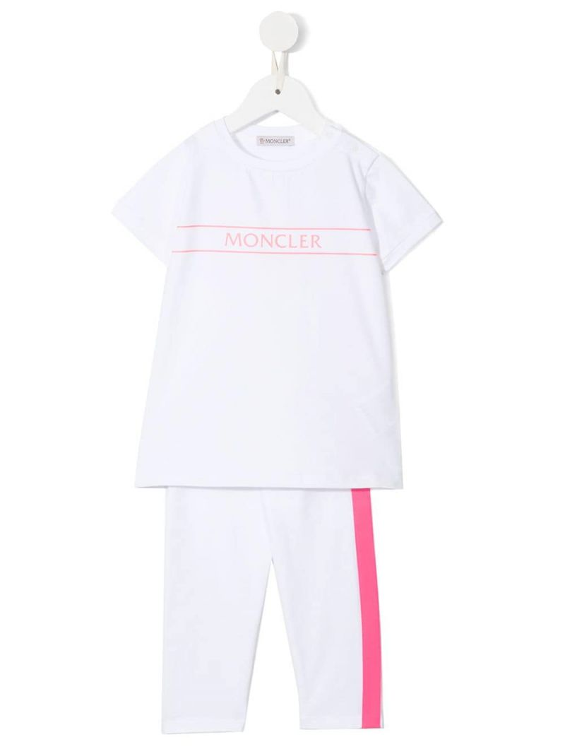 MONCLER KIDS: stretch cotton t-shirt and leggings set Color White_1