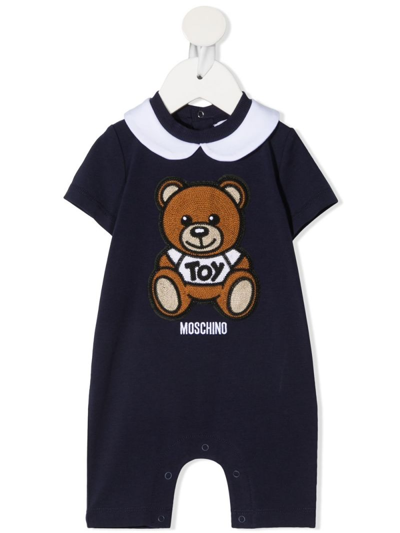 MOSCHINO KIDS: Moschino Teddy Bear patch stretch cotton playsuit Color Blue_1