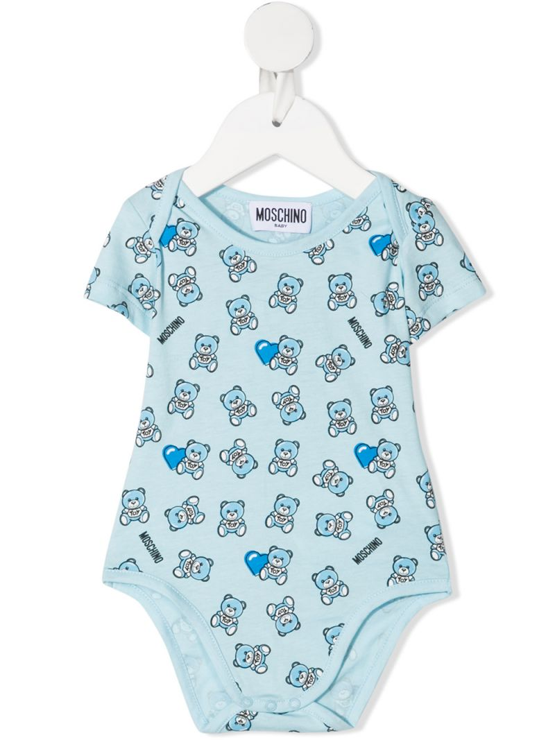MOSCHINO KIDS: Moschino Teddy Bear print cotton two-babygrow set Color Blue_1