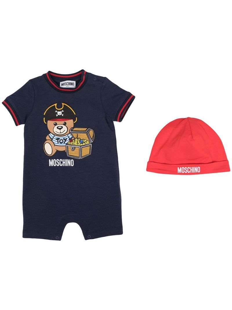 MOSCHINO KIDS: Pirate Teddy Bear stretch cotton babygrow and beanie Color Blue_1