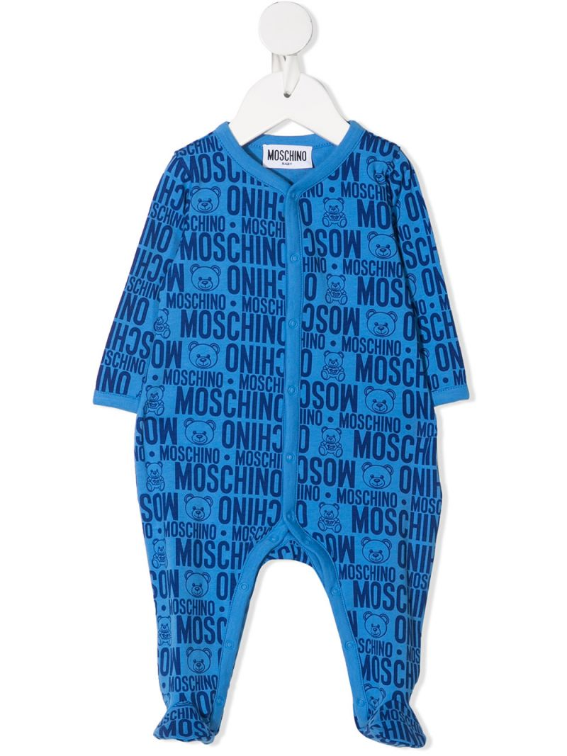 MOSCHINO KIDS: logo print stretch cotton romper Color Blue_1