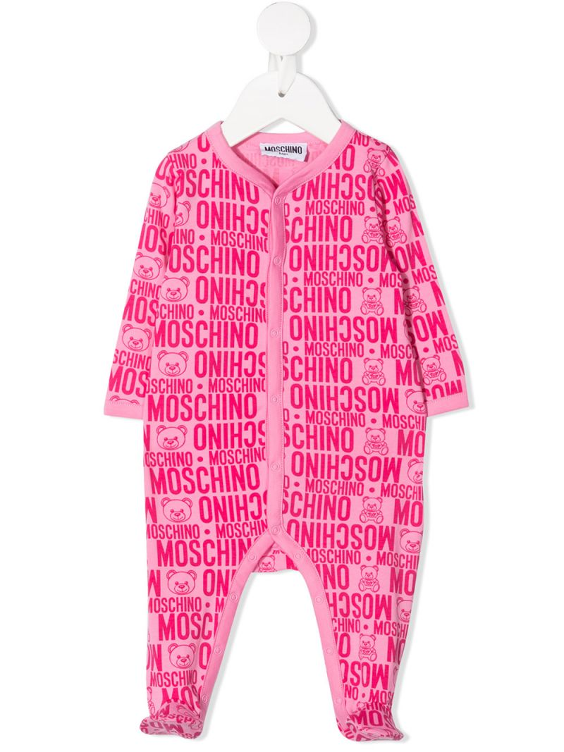 MOSCHINO KIDS: logo print stretch cotton romper Color Purple_1
