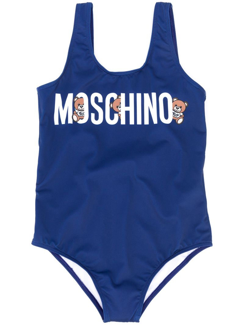 MOSCHINO KIDS: Teddy Logo print lycra one-piece swimsuit Color Blue_1