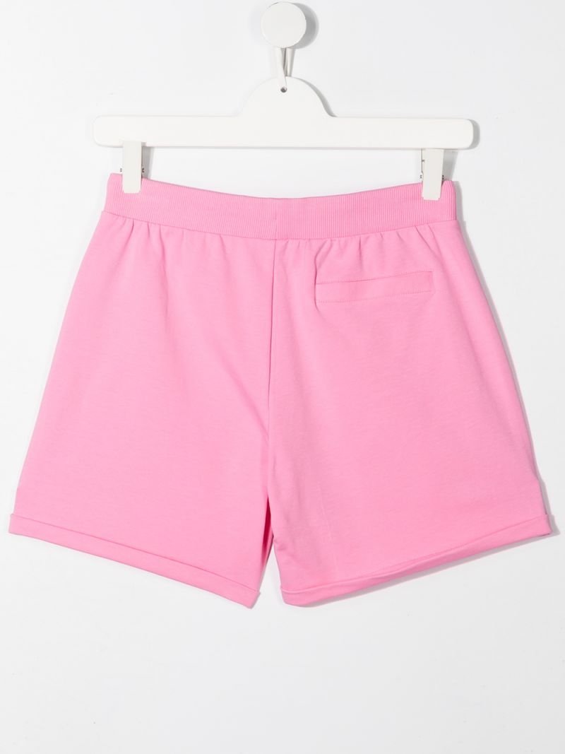 MOSCHINO KIDS: Spray Teddy Bear stretch cotton shorts Color Pink_2