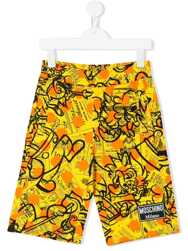 MOSCHINO KIDS: Yellow Pages stretch cotton shorts Color Yellow_1