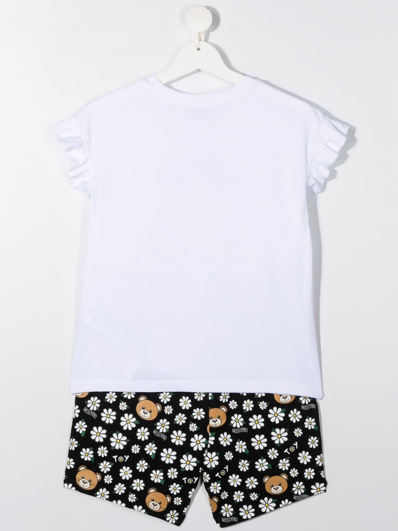 MOSCHINO KIDS: Daisy Teddy Bear stretch cotton t-shirt and shorts set Color Black_2