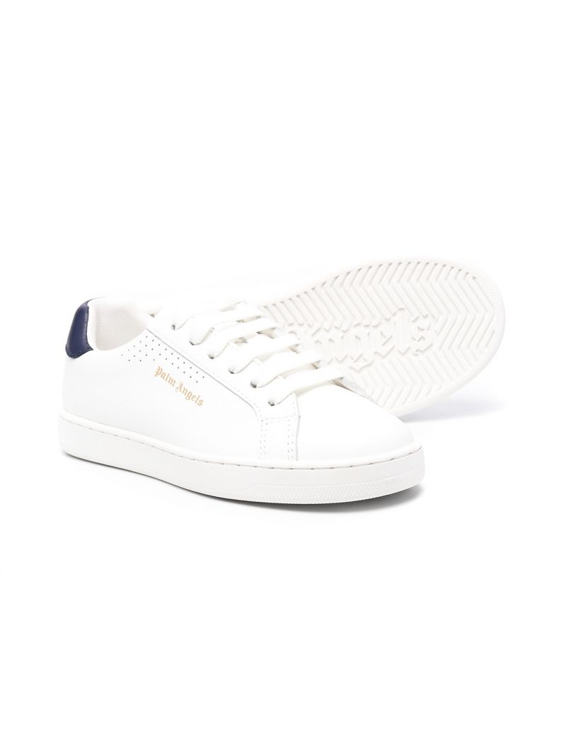 PALM ANGELS KIDS: Palm One smooth leather sneakers Color Blue_2