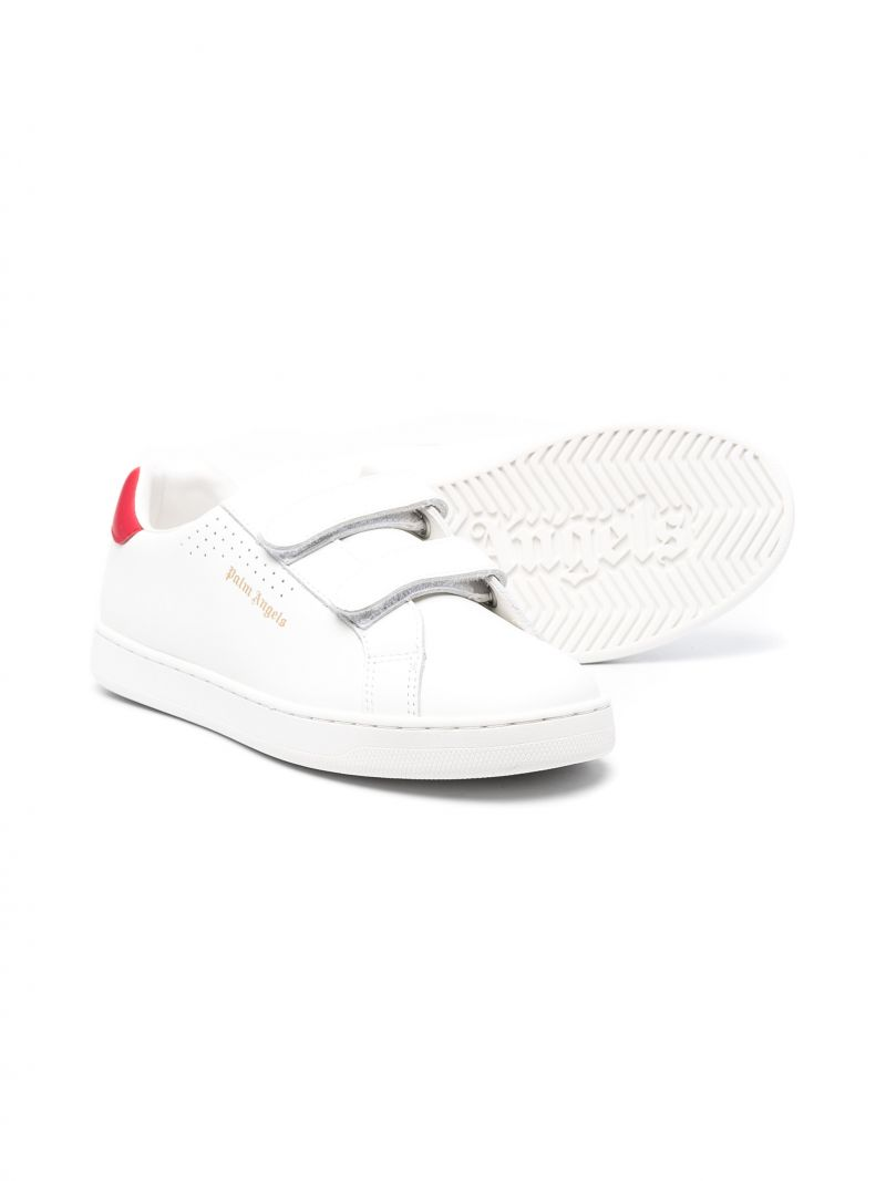 PALM ANGELS KIDS: Palm One smooth leather sneakers Color White_2
