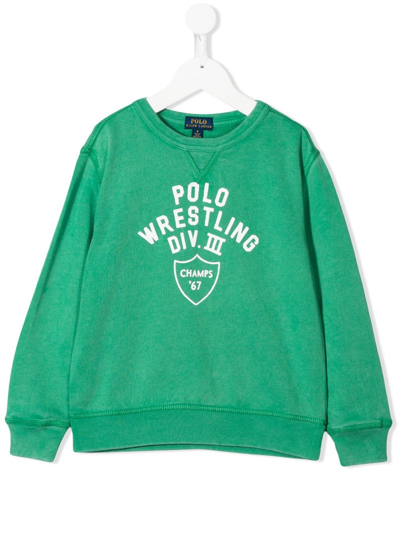 RALPH LAUREN KIDS: Polo Wrestling print cotton sweatshirt Color Green_1