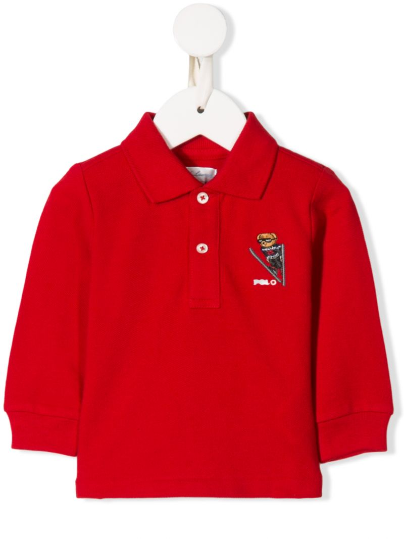 RALPH LAUREN KIDS: Ski Bear embroidered cotton long-sleeved polo shirt Color Red_1