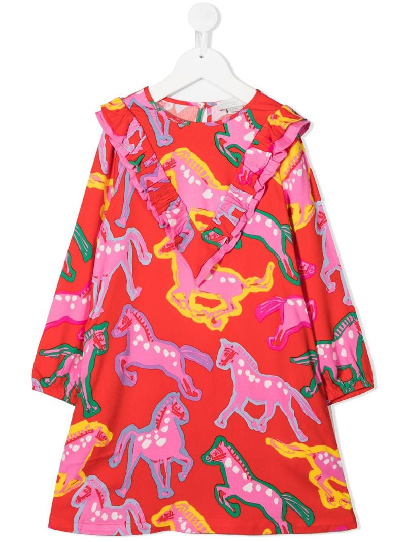 STELLA McCARTNEY KIDS: horses print twill dress Color Red_1