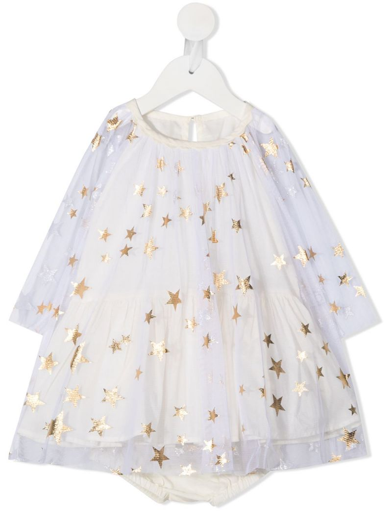 STELLA McCARTNEY KIDS: stars print tulle dress with bloomers Color Gold_1