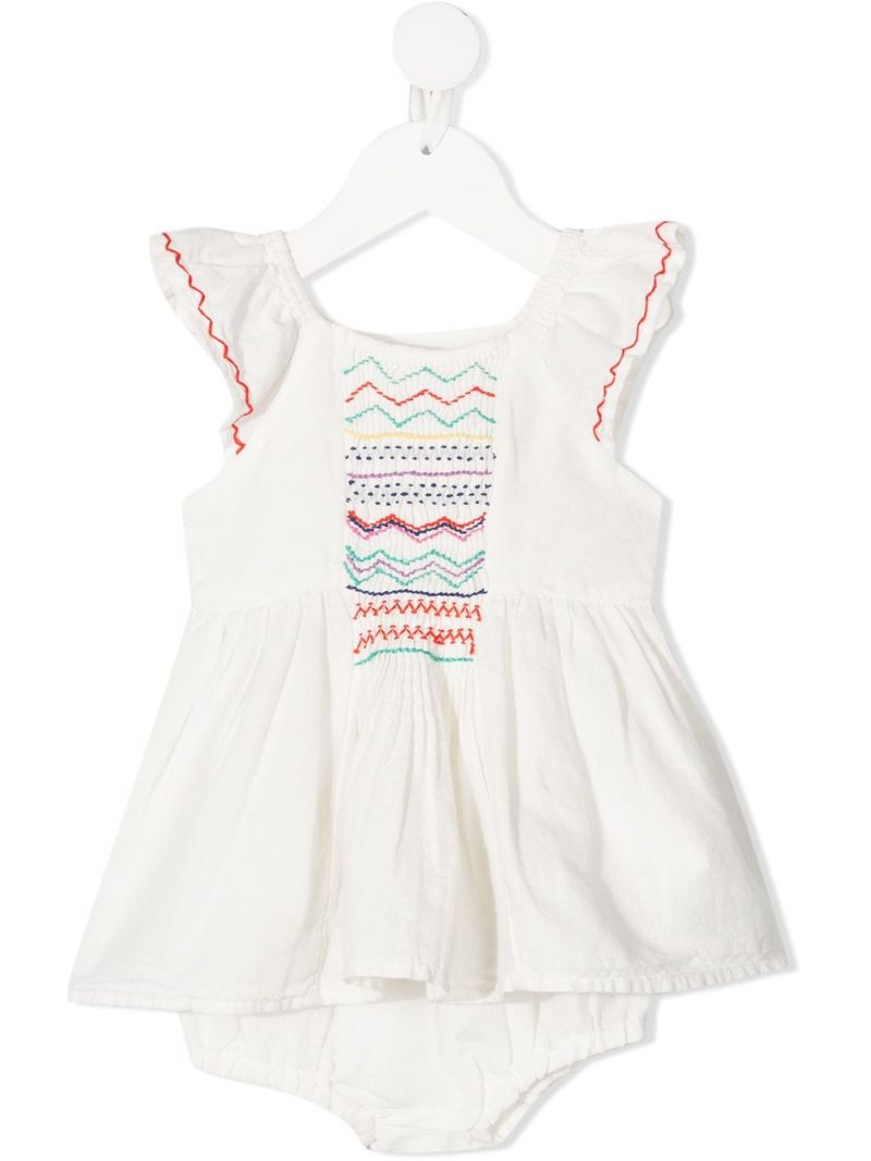 STELLA McCARTNEY KIDS: linen cotton blend dress with bloomers Color White_1
