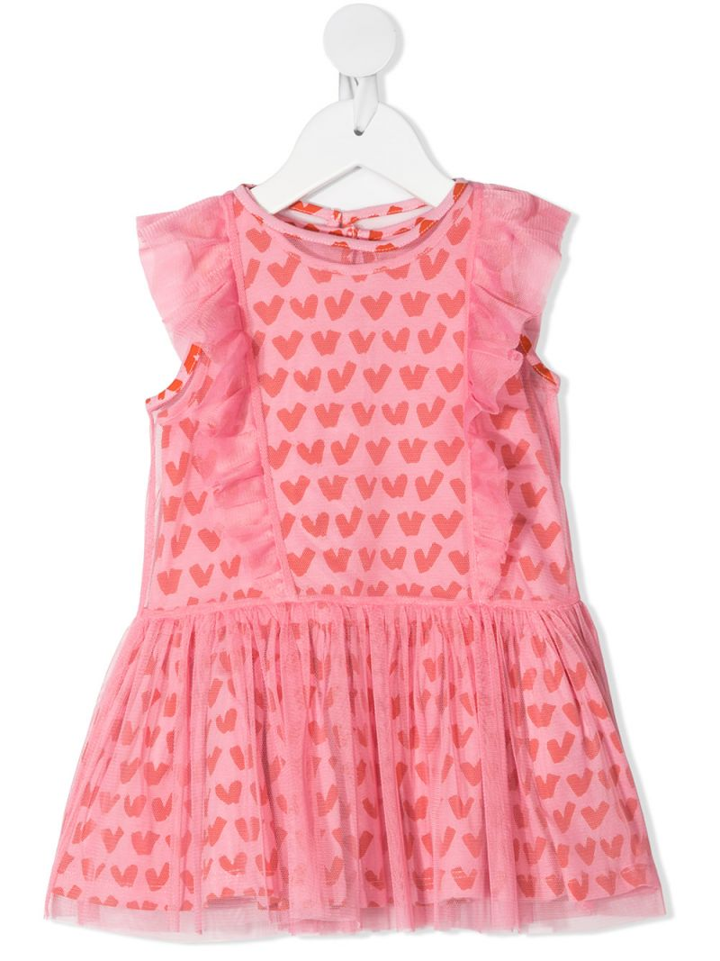 STELLA McCARTNEY KIDS: hearts print tulle sleeveless dress Color Pink_1