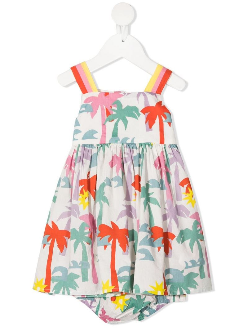 STELLA McCARTNEY KIDS: palms print cotton dress Color Multicolor_1