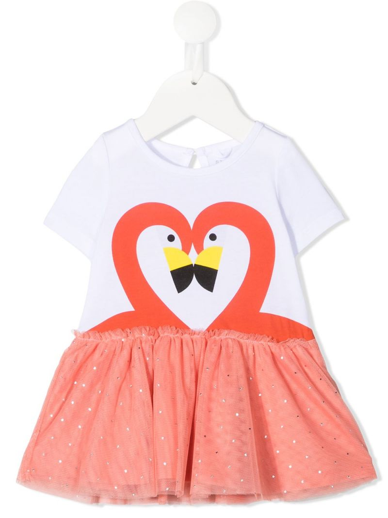 STELLA McCARTNEY KIDS: flamingo print organic cotton and tulle dress Color White_1