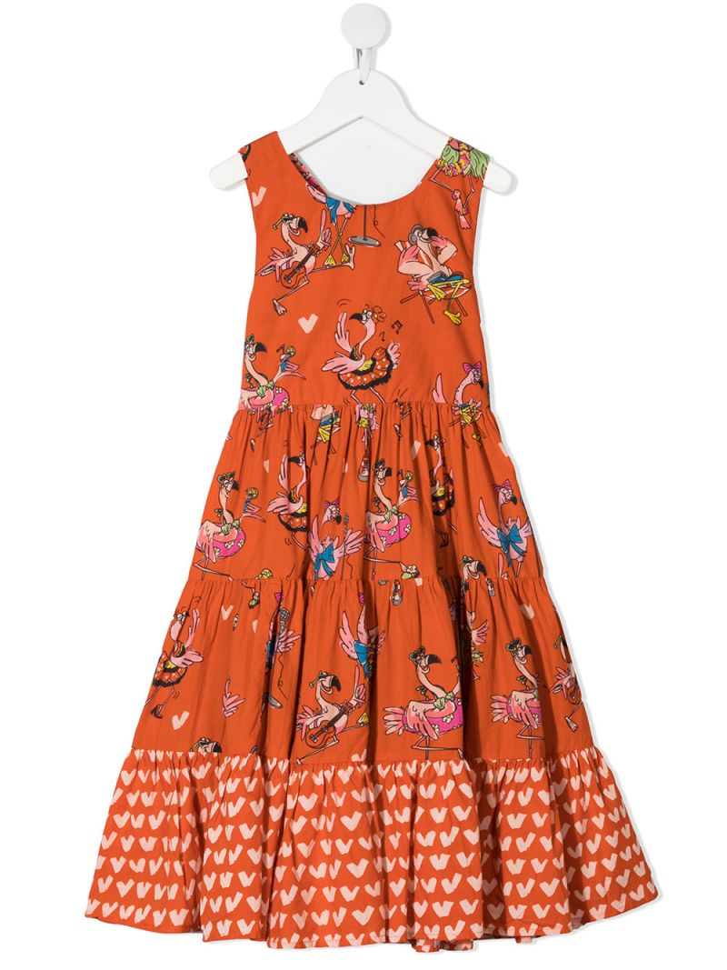 STELLA McCARTNEY KIDS: flamingo print cotton flounced dress Color Red_1