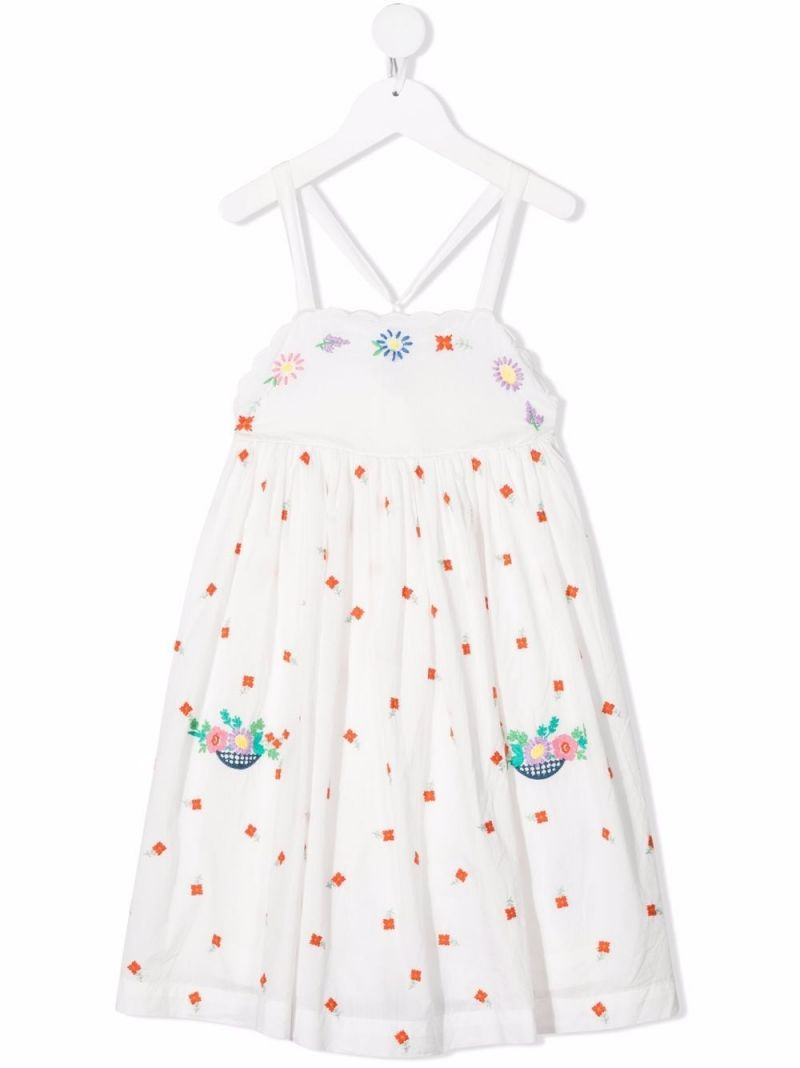 STELLA McCARTNEY KIDS: floral embroidered organic cotton short dress Color White_1