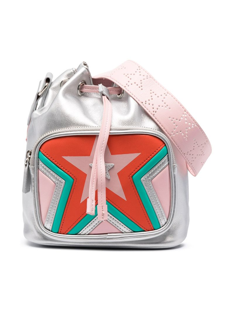 STELLA McCARTNEY KIDS: faux leather bucket bag with drawstring Color Multicolor_1