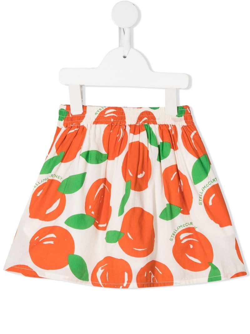 STELLA McCARTNEY KIDS: clementine print cotton skirt Color White_1