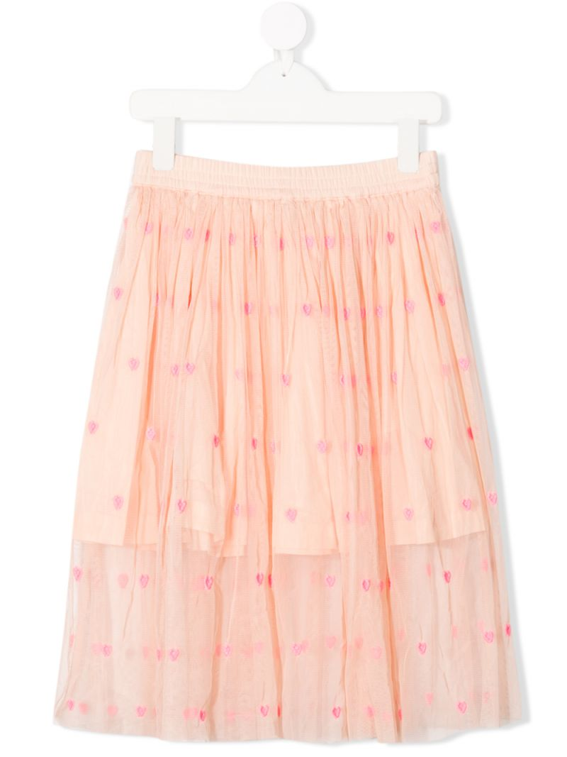 STELLA McCARTNEY KIDS: hearts-embroidered tulle skirt Color Pink_1