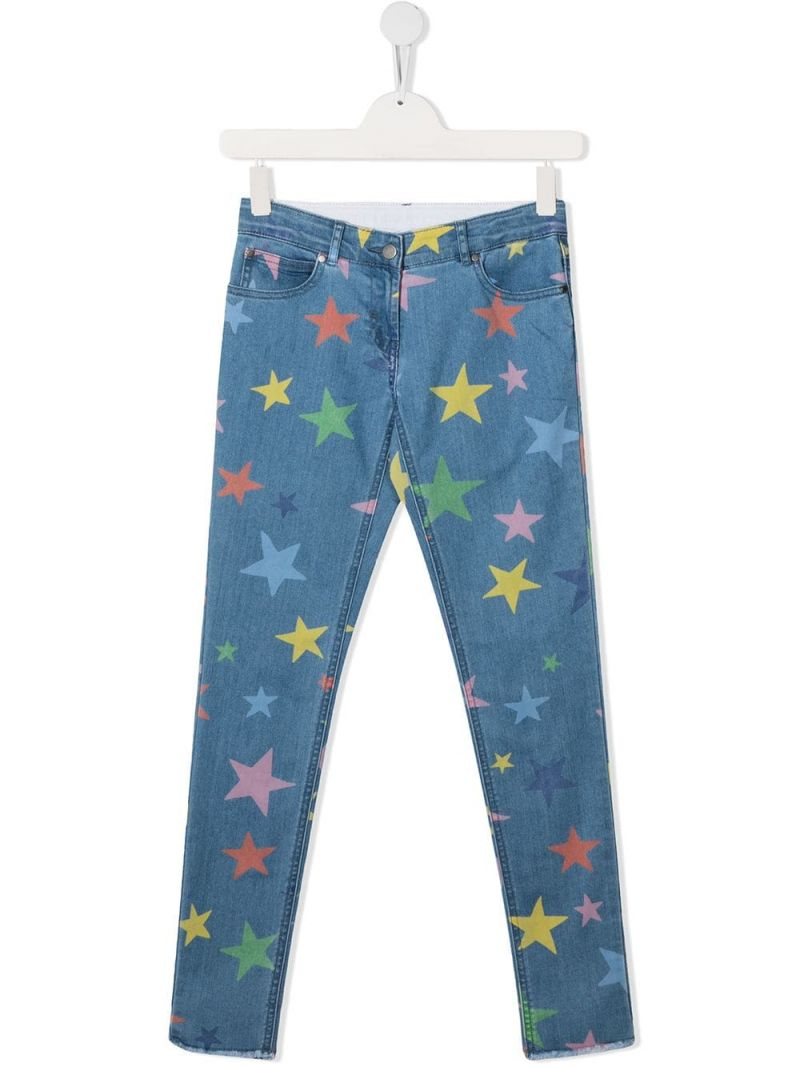 STELLA McCARTNEY KIDS: stars print skinny jeans Color Multicolor_1
