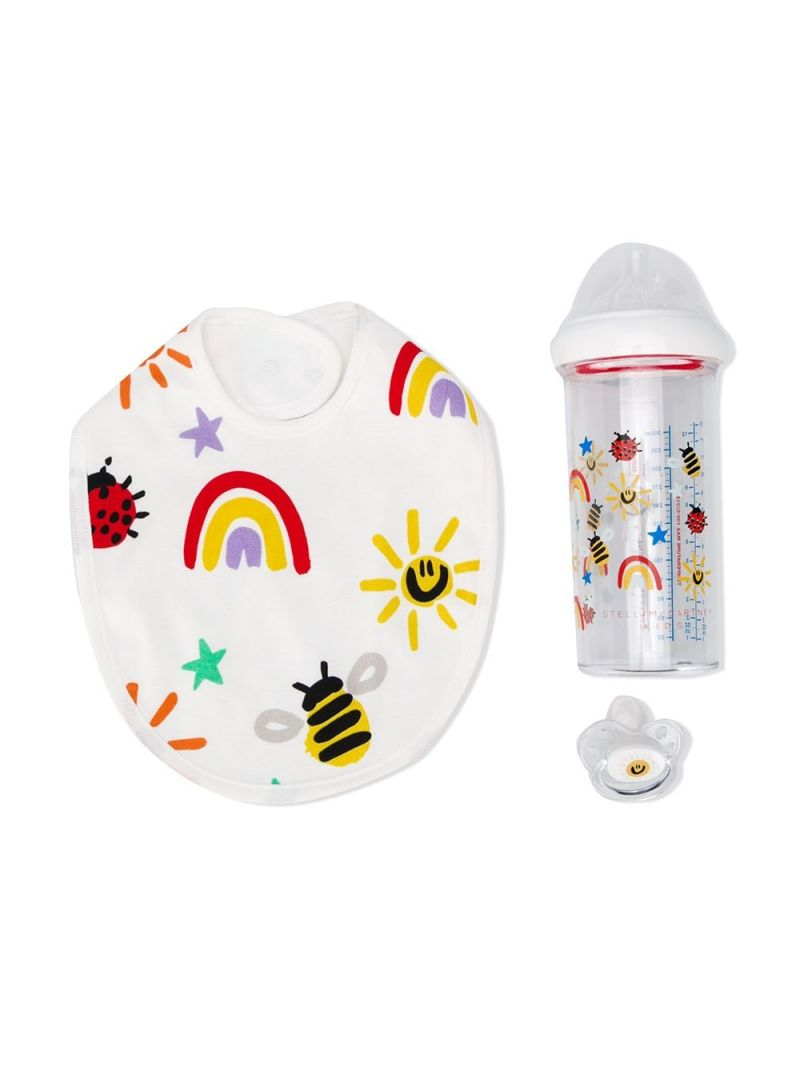 STELLA McCARTNEY KIDS: bib, baby bottle and dummy set Color Multicolor_1