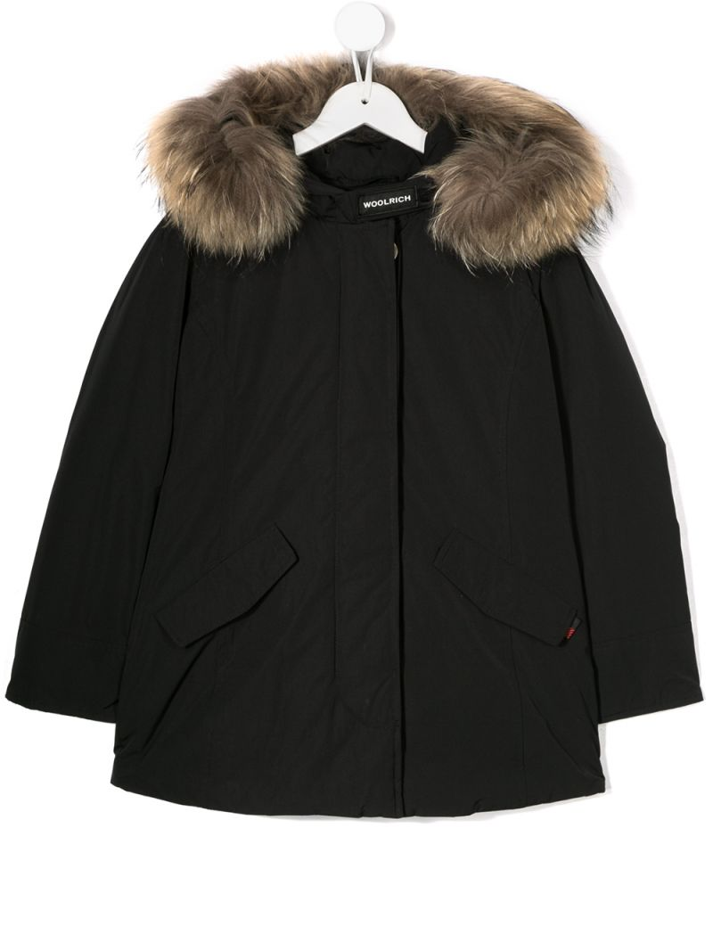 WOOLRICH KIDS: technical fabric hooded down jacket Color Black_1