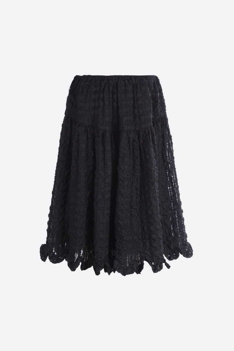 CECILIE BAHNSEN: Kasumi check seersucker circle skirt Color Black_2