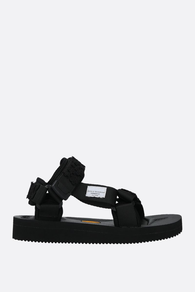 CECILIE BAHNSEN: Maria nylon flat sandals Color Black_1