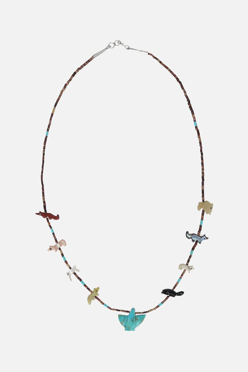 JESSIE WESTERN: Eagle short necklace in sterling silver with gemstones Color Multicolor_1
