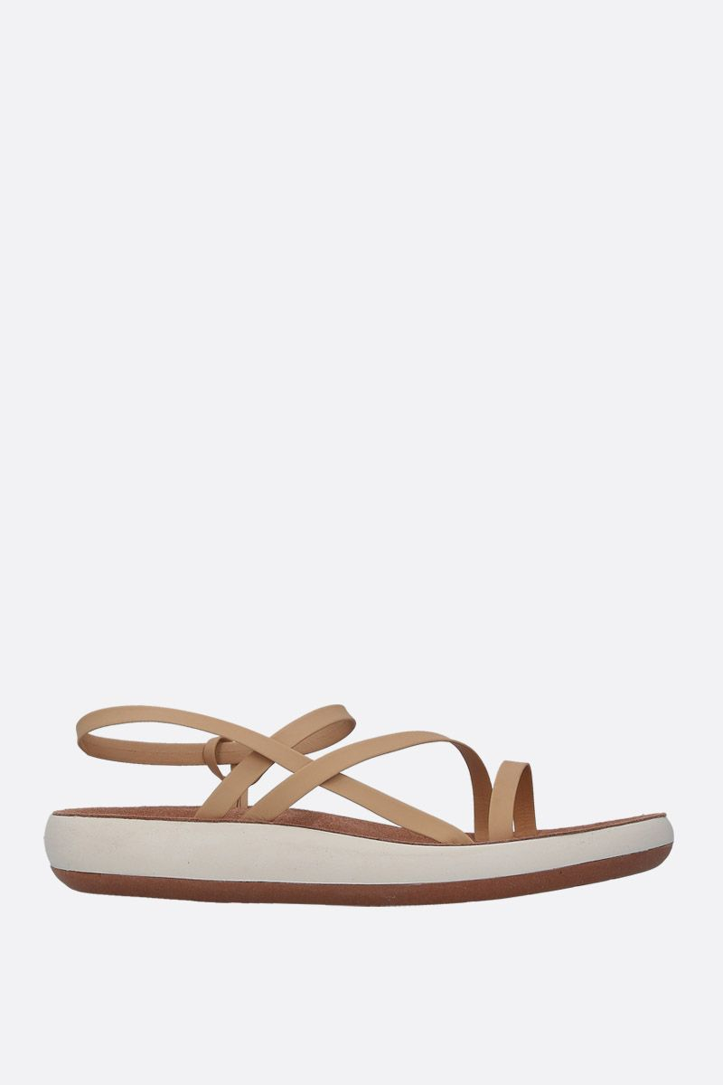 ANCIENT GREEK SANDALS: Dimitra flat sandals in matte leather Color Neutral_1