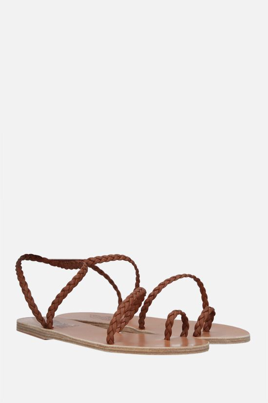 ANCIENT GREEK SANDALS: Eleftheria woven leather thong sandals Color Brown_2