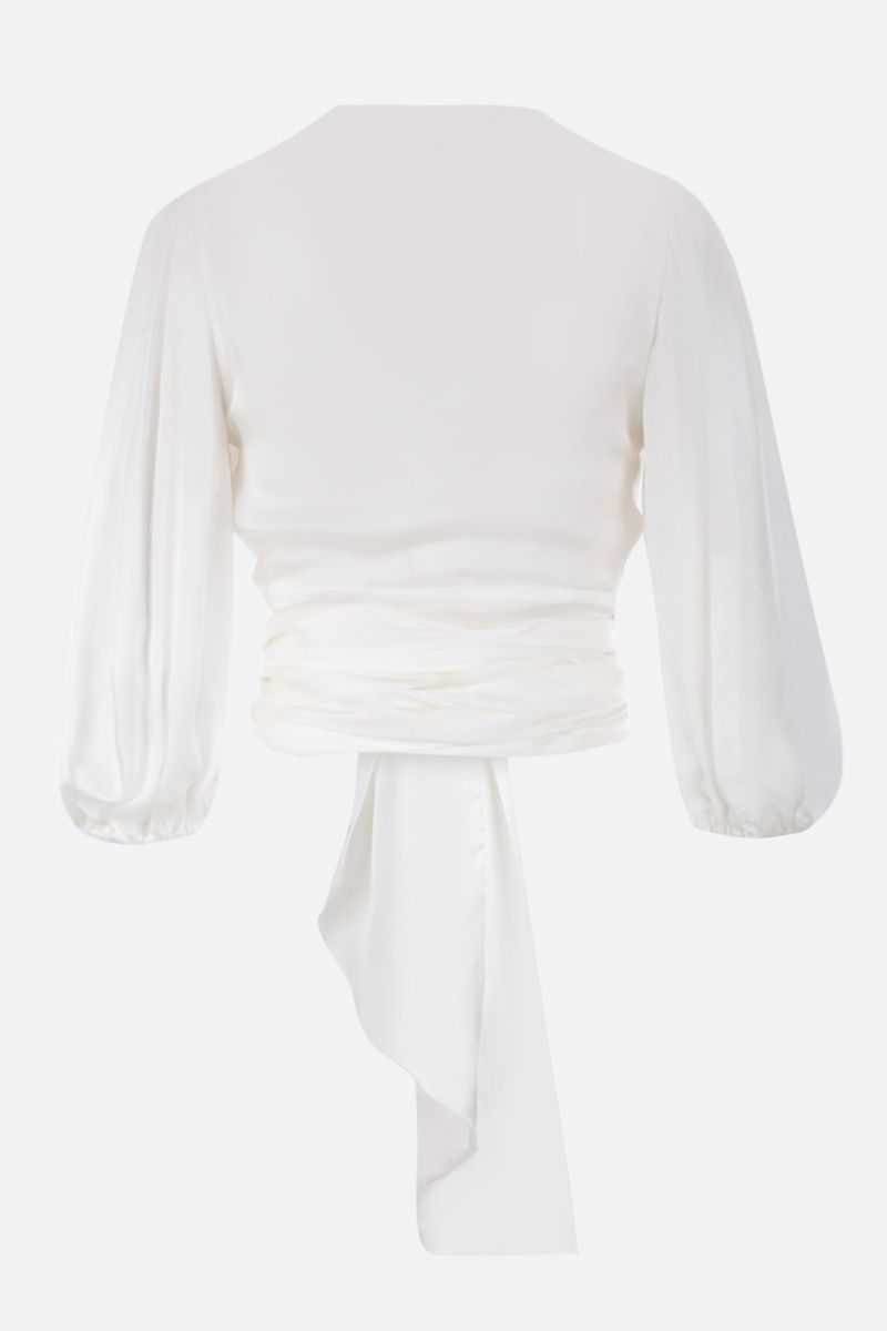 ALEXANDRE VAUTHIER: silk chiffon wrap blouse Color White_2