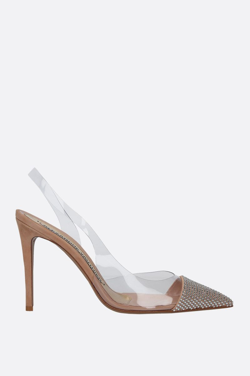 ALEXANDRE VAUTHIER: Amber slingbacks in PVC and crystal-embellished suede Color Neutral_1