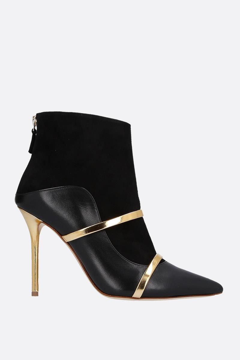 MALONE SOULIERS: Madison nappa leather and suede booties Color Black_1