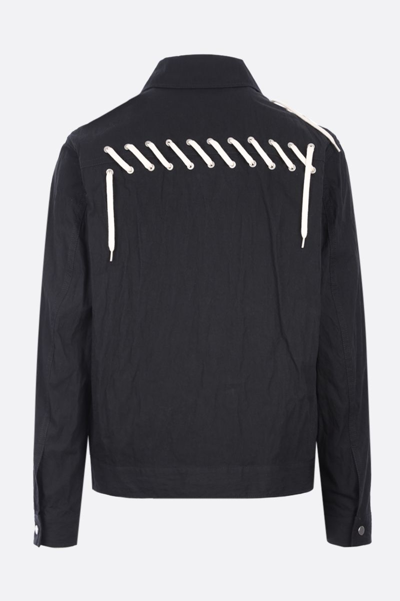 CRAIG GREEN: lace-detailed technical cotton overshirt Color Black_2