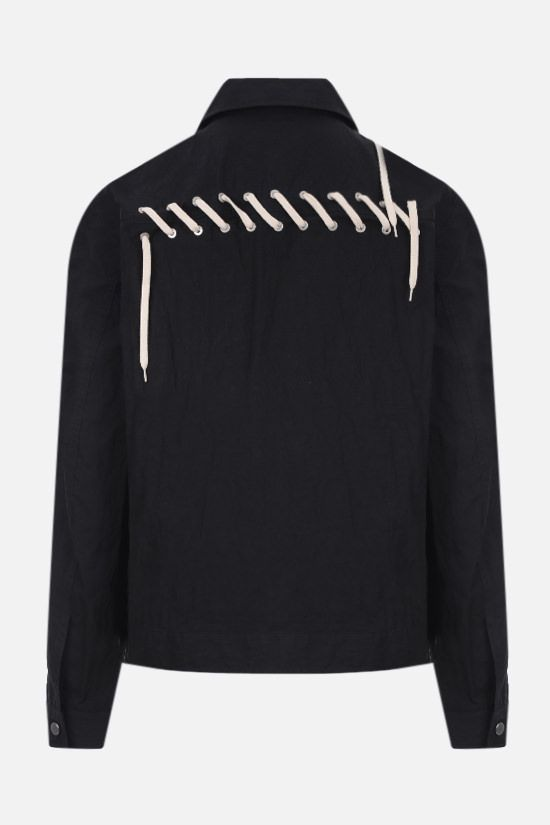 CRAIG GREEN: lace-embellished technical cotton overshirt Color Black_2