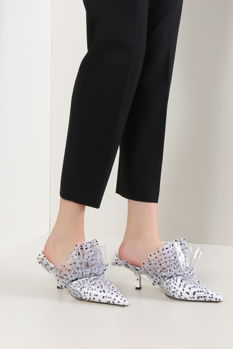 MIDNIGHT 00: mule in tulle point d'esprit e PVC Colore Nero_2