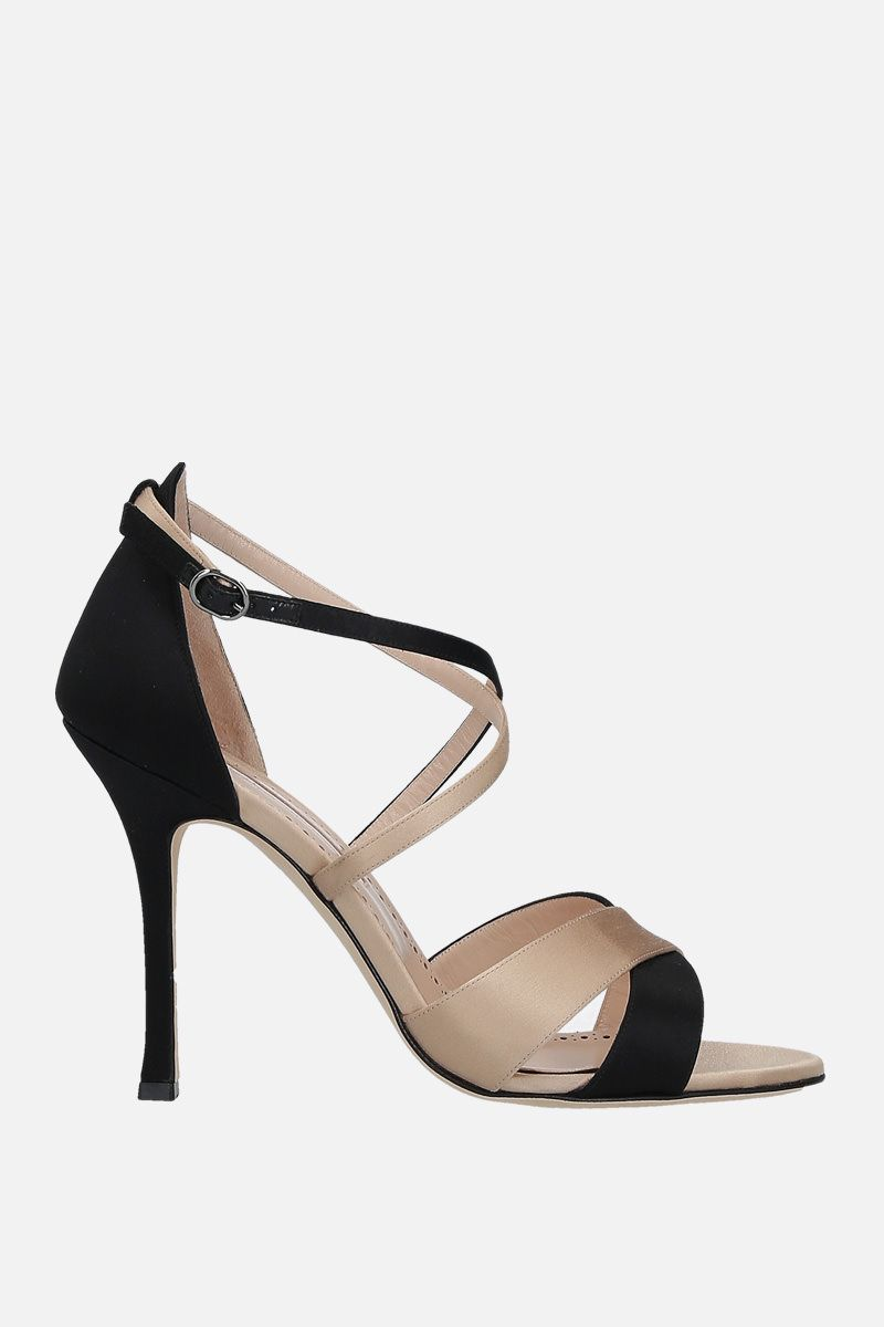 MANOLO BLAHNIK: Anna bicolour satin sandals_1