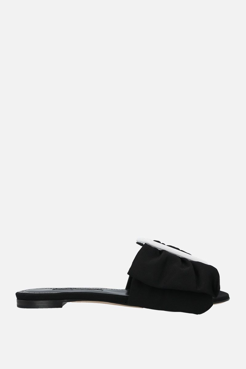 MANOLO BLAHNIK: Flaria grosgrain flat sandals Color Black_1