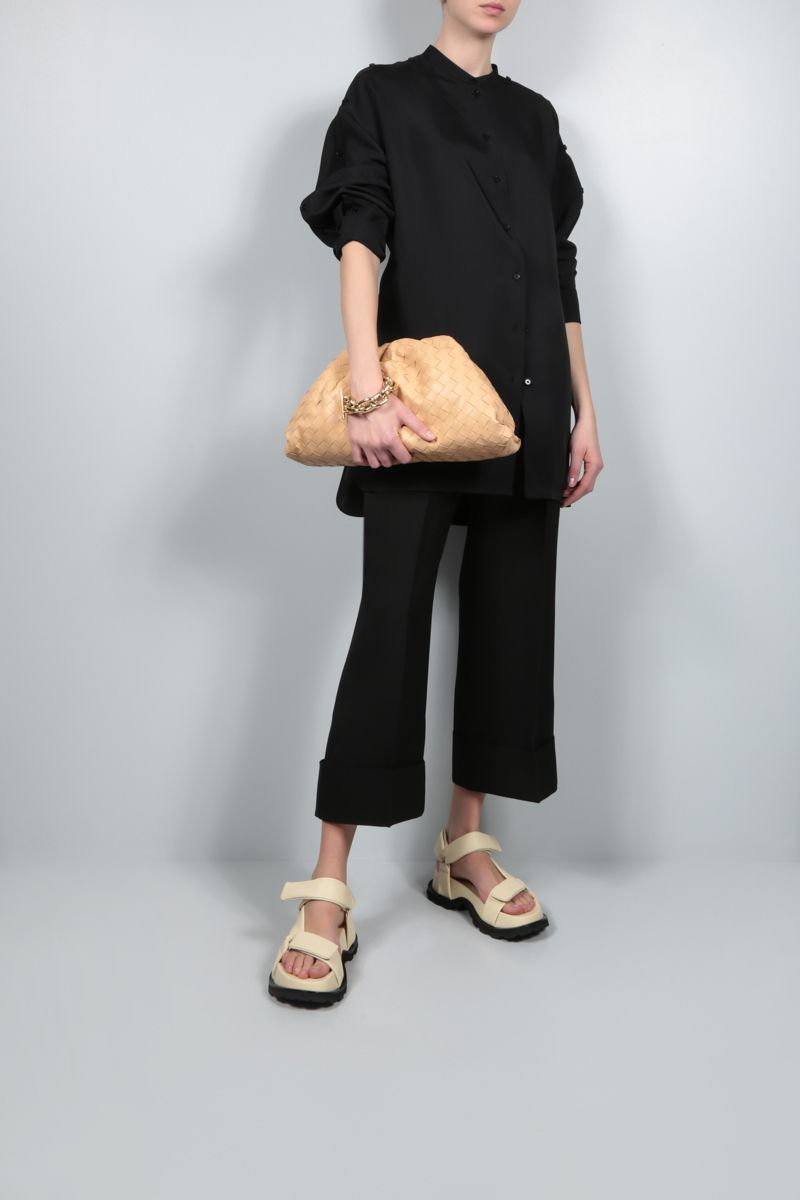 JIL SANDER: silk blend long shirt Color Black_2