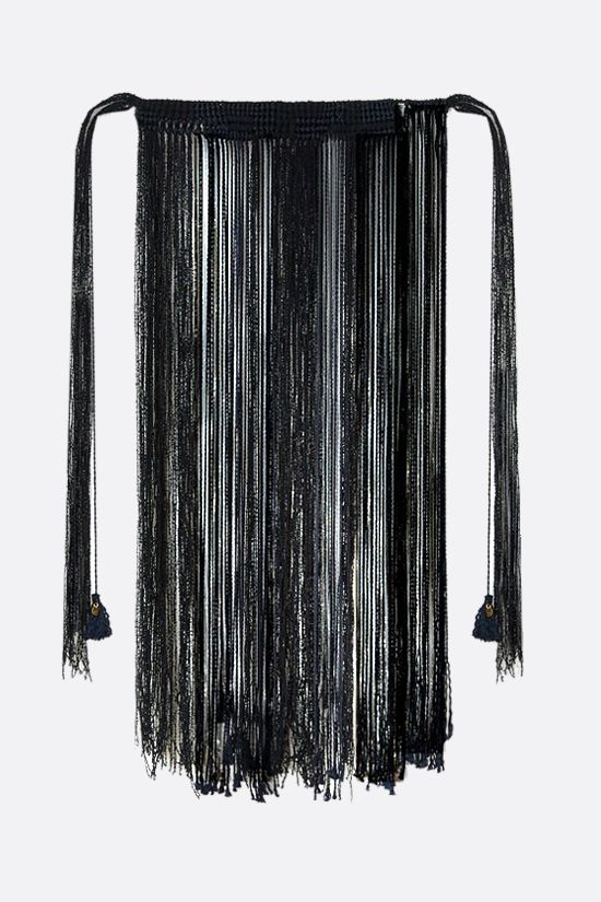 JIL SANDER: hand-knitted viscose and silk macramè necklace Color Black_1